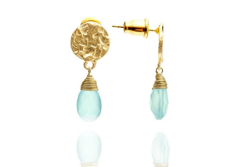 Azuni Earrings - Kate Drop Gold Plate Aqua Chalcedony