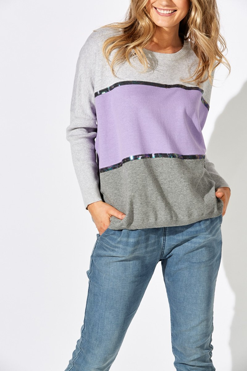 Eb&Ive Adventurer Knit Sweater - Lilac/ Grey Marle