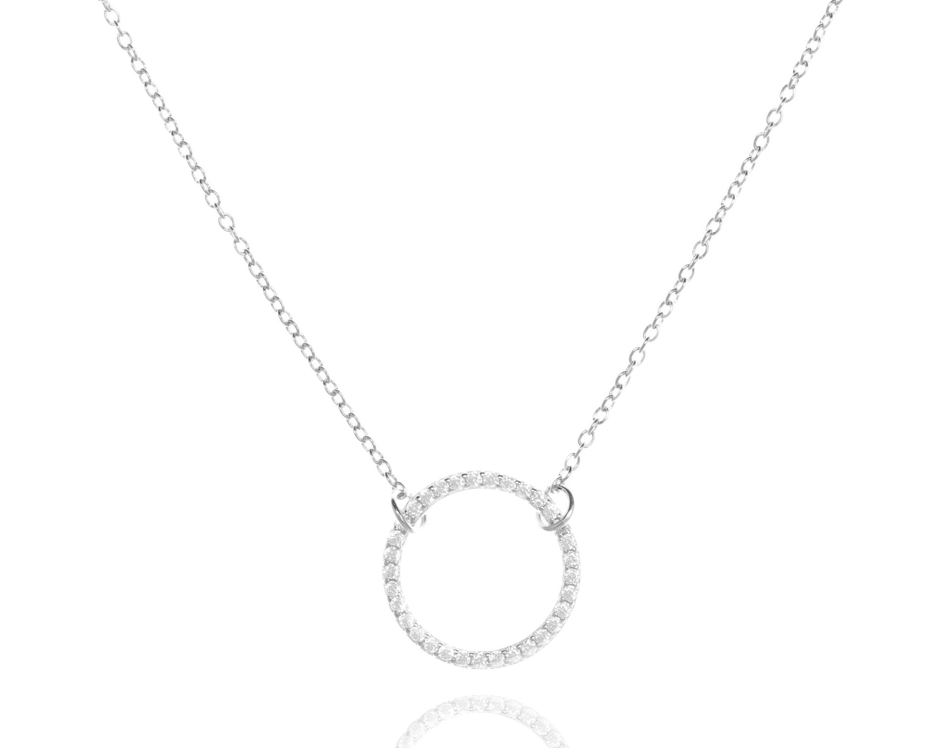 Necklace CZ Open Circle - Sterling Silver NJ-39/S