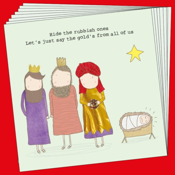 Christmas Cards Rosie - Gold Xmas x 8 Cards XGFB04