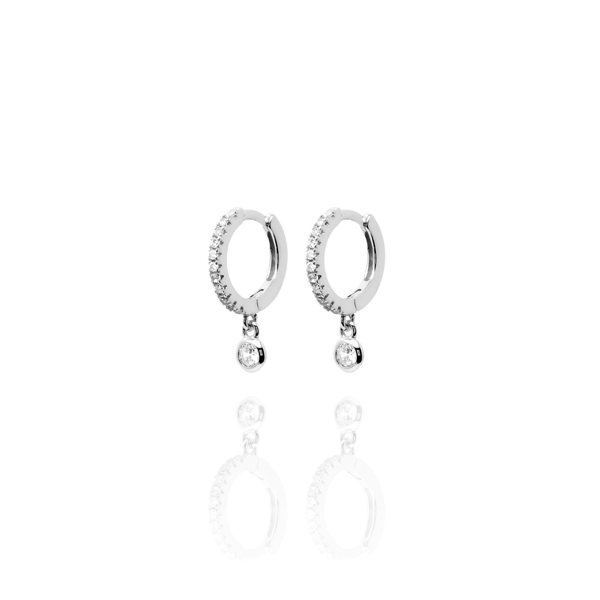 Huggies CZ Set With Single Hanging Stone - Sterling Silver EG-23/S