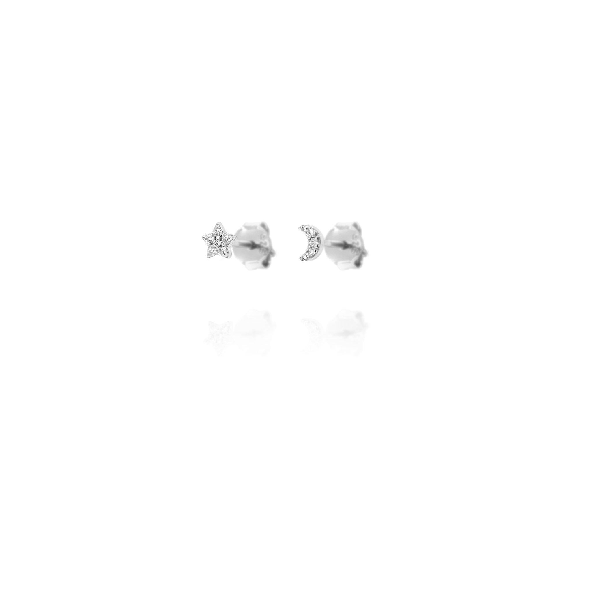 Stud Earrings Sparkly Star & Moon - Sterling Silver EG-7/S