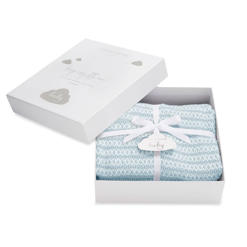 Katie Loxton Baby Blanket - Blue Knitted + Boxed