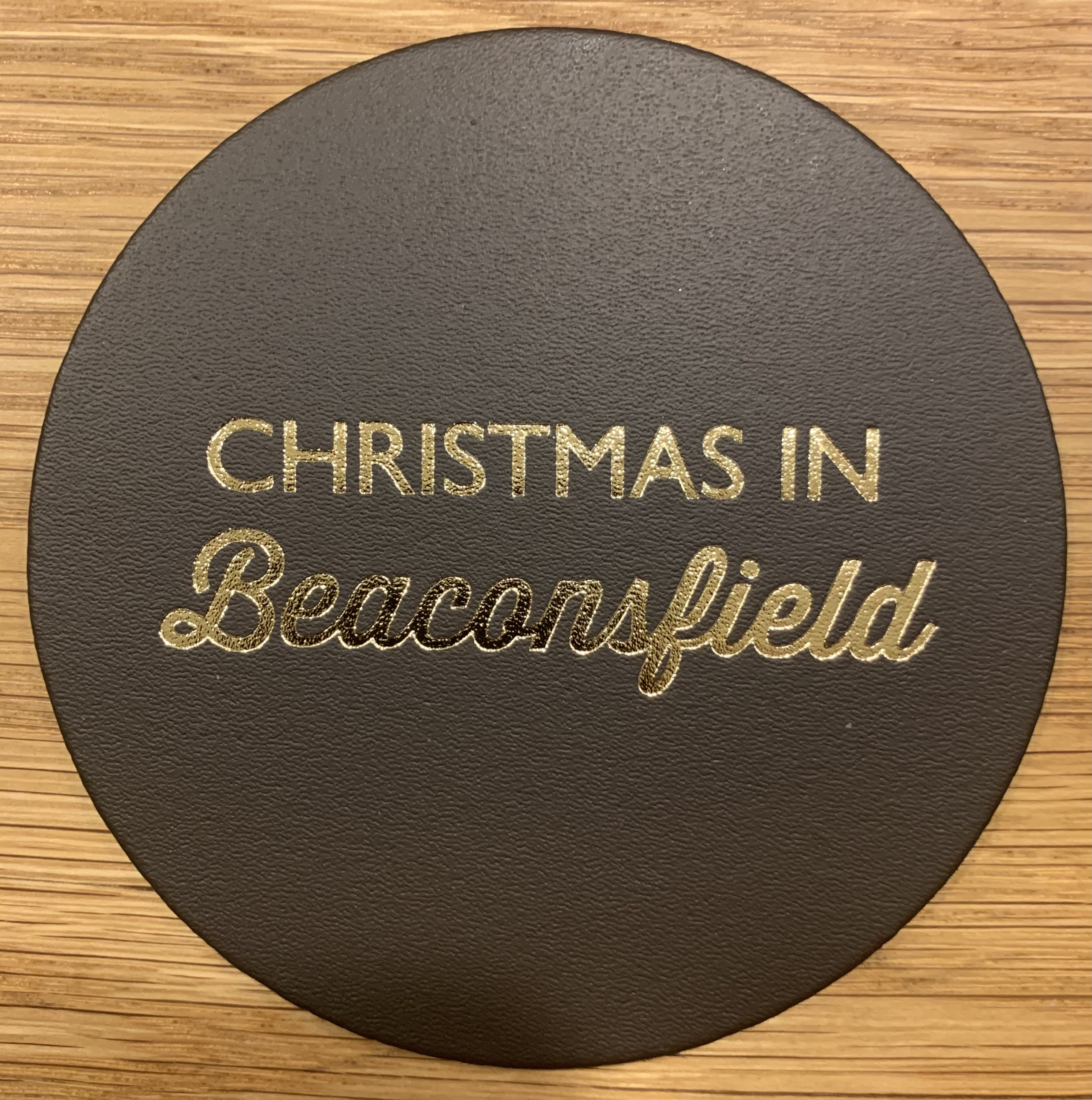 Leather Coaster - Christmas in Beaconsfield Brown
