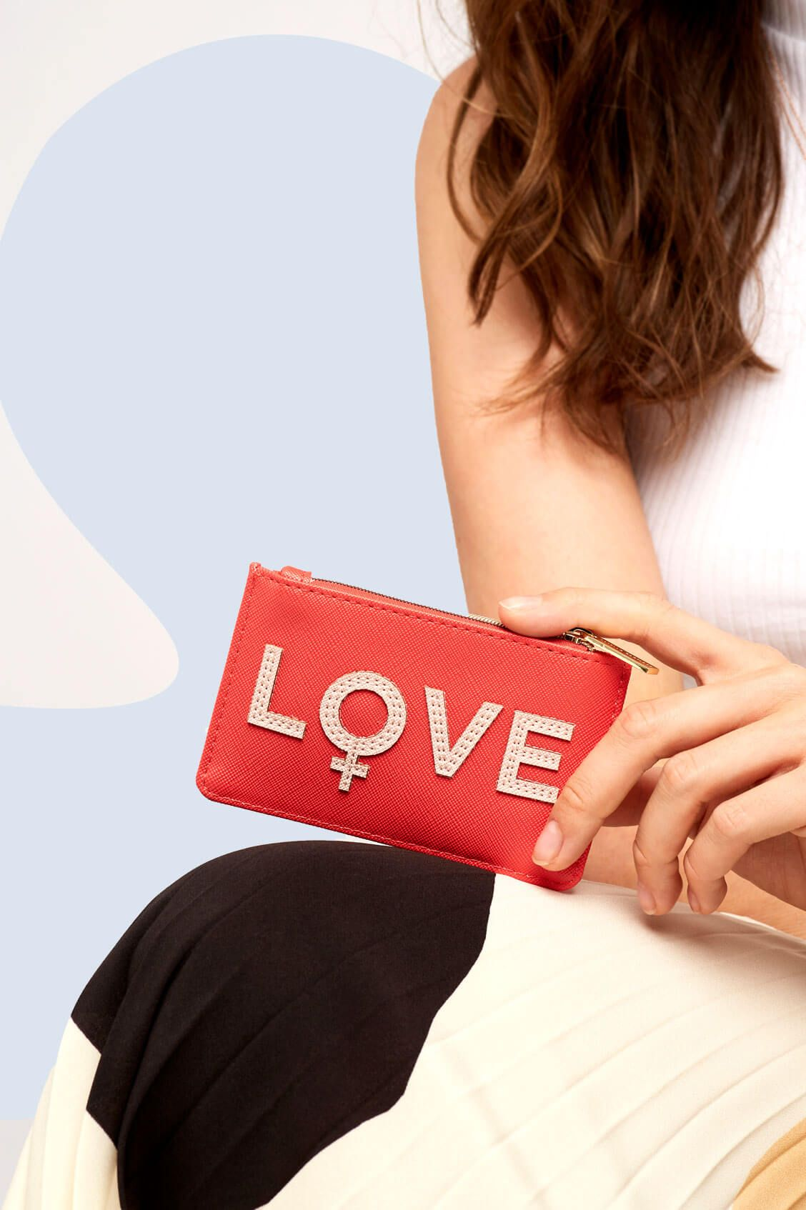 Estella Bartlett Card Holder - Applique 'LOVE' Coral/Blush