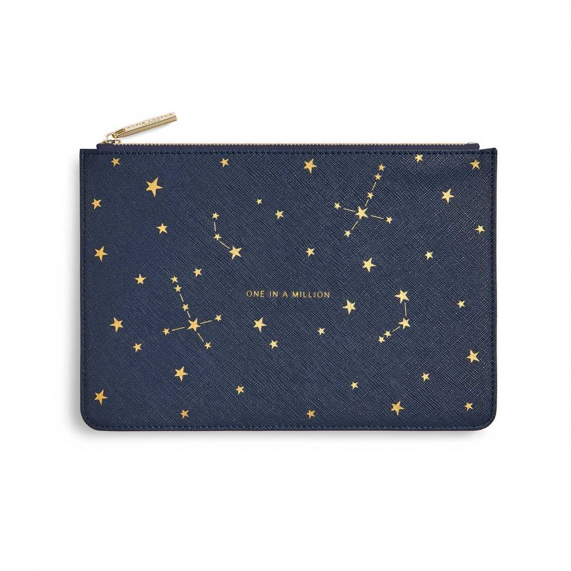 Katie Loxton Perfect Pouch - 'One In A Million' Navy, Gold Pattern