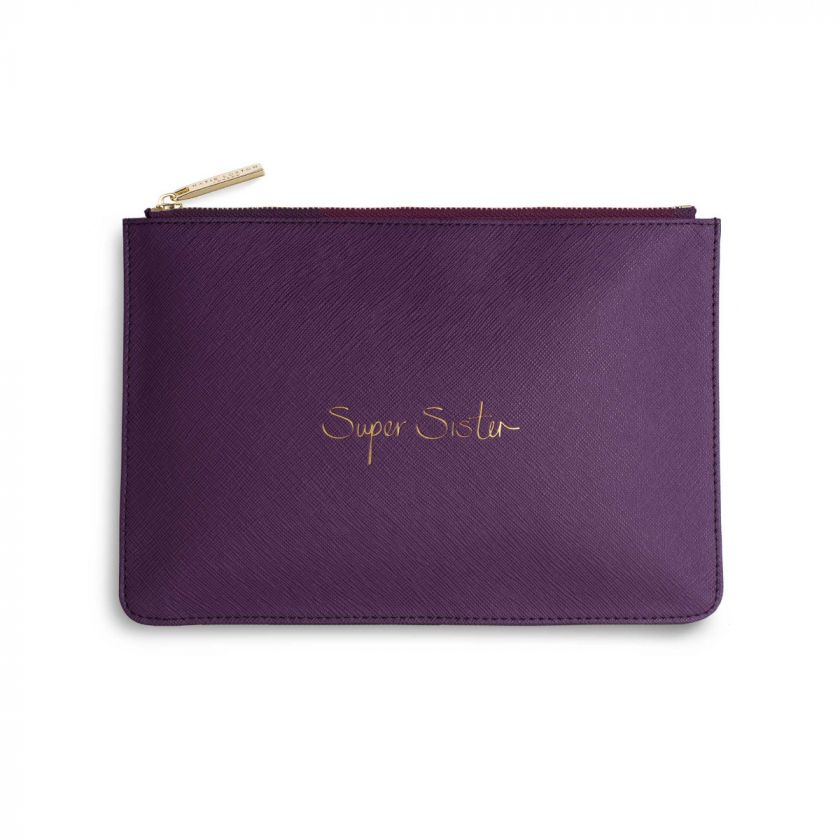 Katie Loxton Perfect Pouch - 'Super Sister' Purple