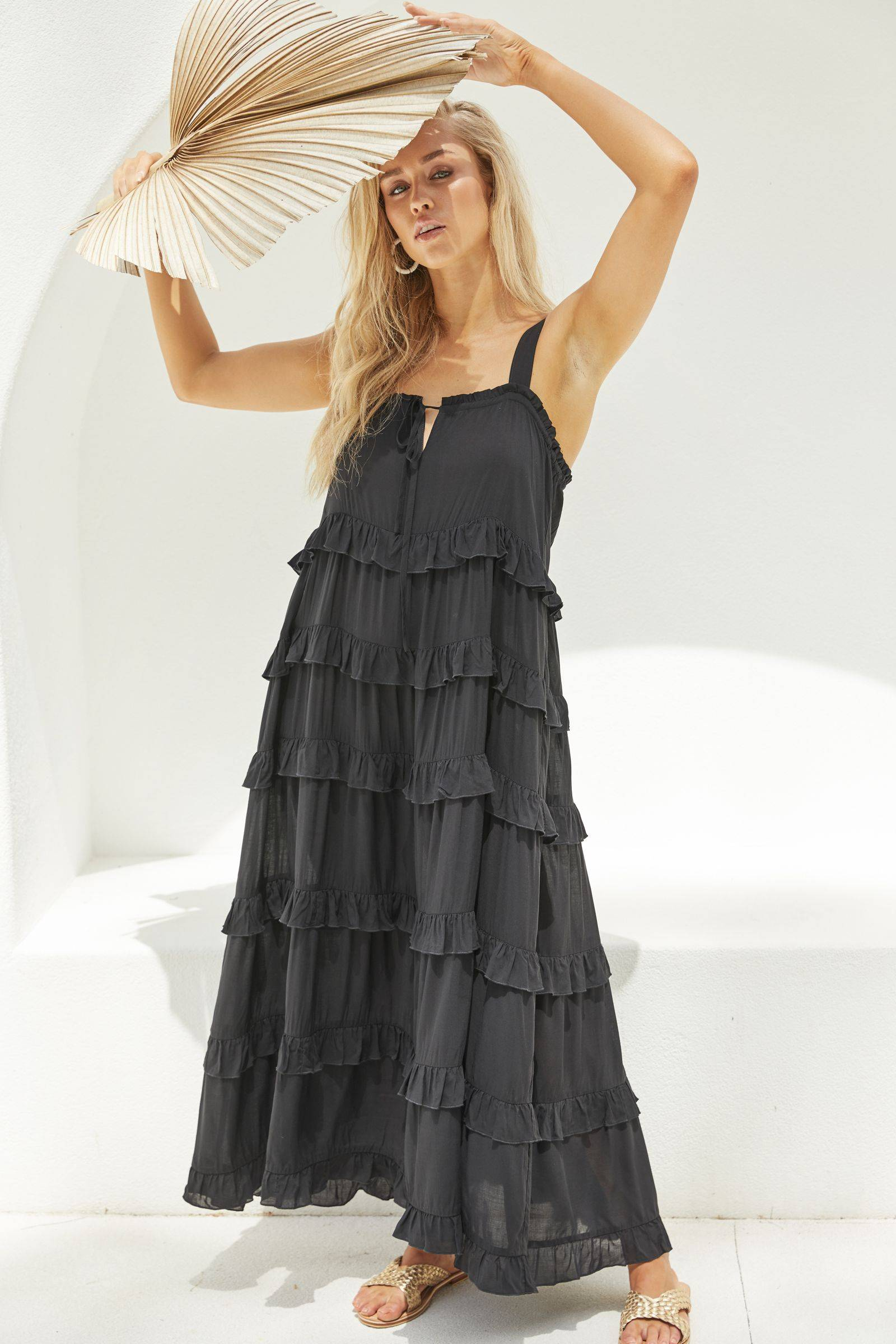 Haven Havana Frill Maxi Dress - Black