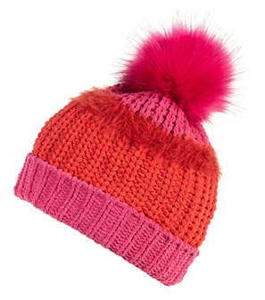 Bobble Hat - Pink and Red Boardmans
