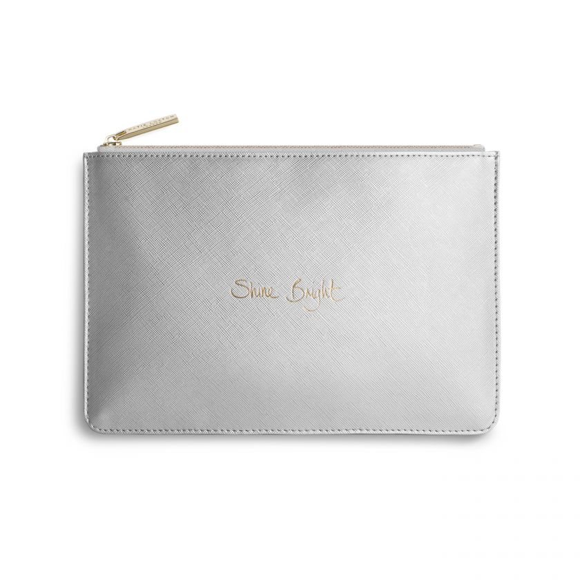 Katie Loxton Perfect Pouch - 'Shine Bright' Metallic Silver