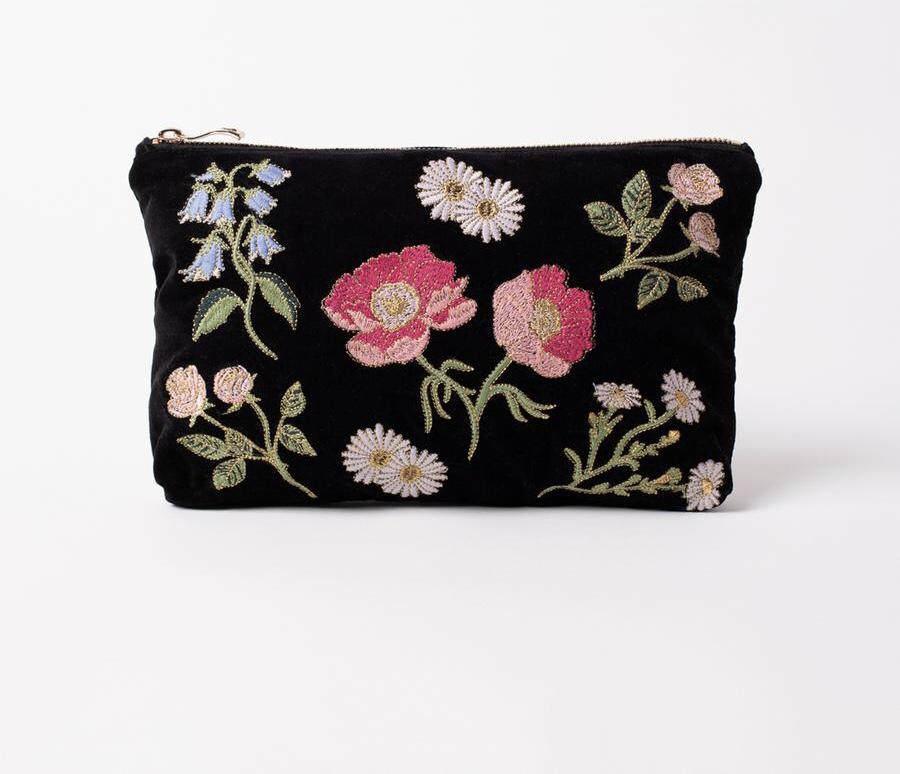 Elizabeth Scarlett - Travel Pouch British Blooms Black Velvet