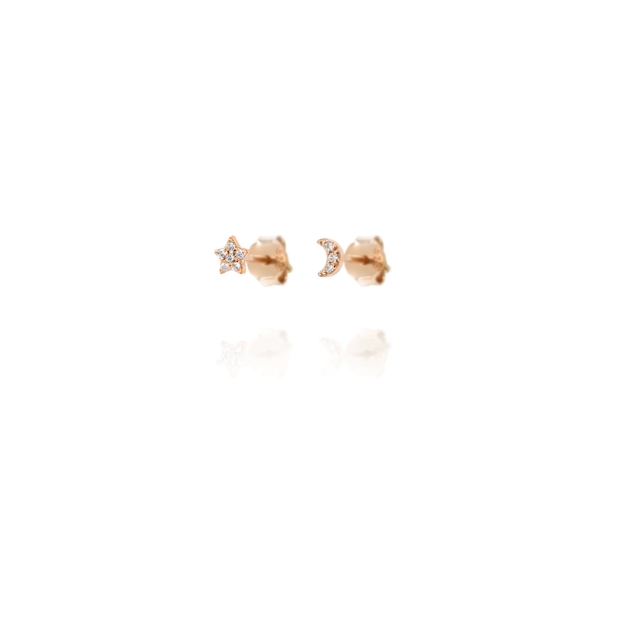 Stud Earrings Sparkly Star & Moon - Rose Gold Plate on Sterling Silver EG7/R