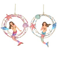 Gisela Graham Christmas Decoration Kingdom of the Sea - Mermaid in Wire Ring 16732