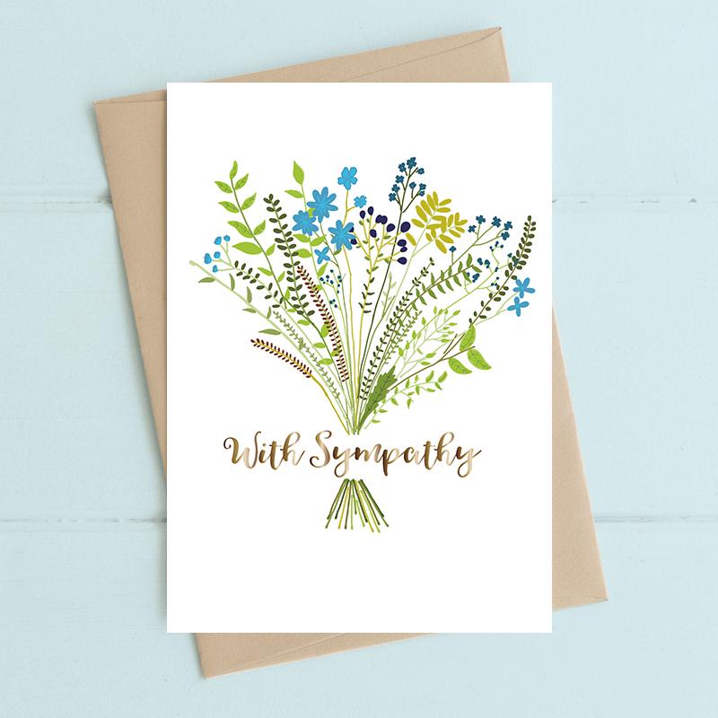 Card Sympathy Dandelion - With Sympathy Floral F2308
