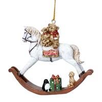 Gisela Graham Christmas Decoration Nostalgia - Teddy on Rocking Horse 17336