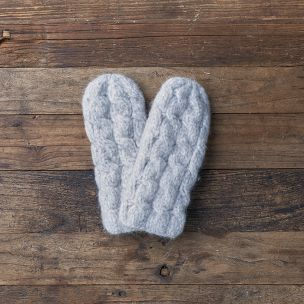 Lemon Collections Mittens - Knotting Hill Cable Oxford Grey
