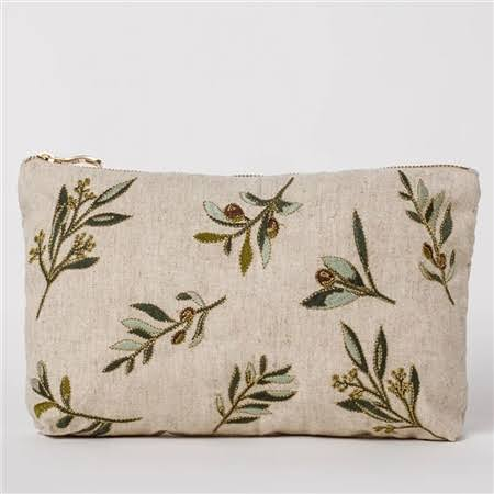 Elizabeth Scarlett - Travel Pouch Olive Natural Linen