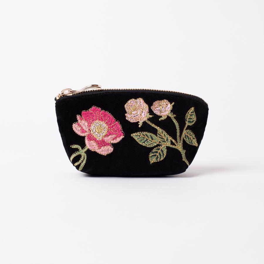 Elizabeth Scarlett - Coin Purse British Blooms Black Velvet