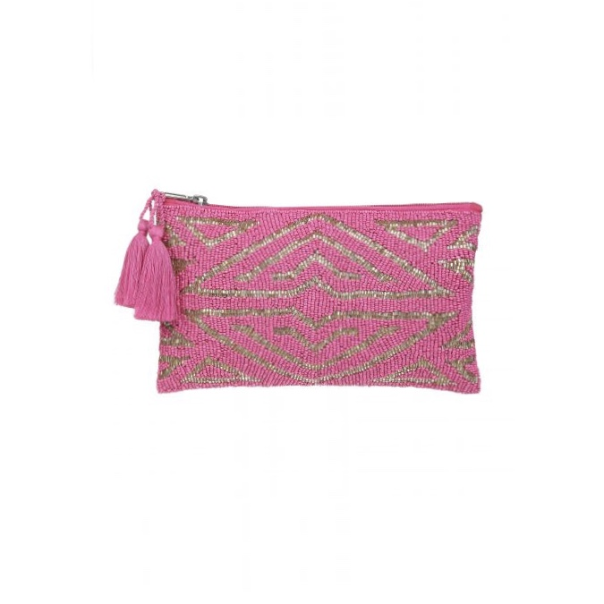 Ashiana Beaded Pouch - Art Deco Pink/Gold