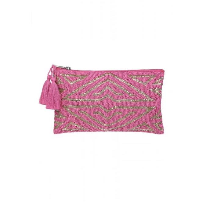 Ashiana Beaded Pouch - Art Deco Pink/Gold