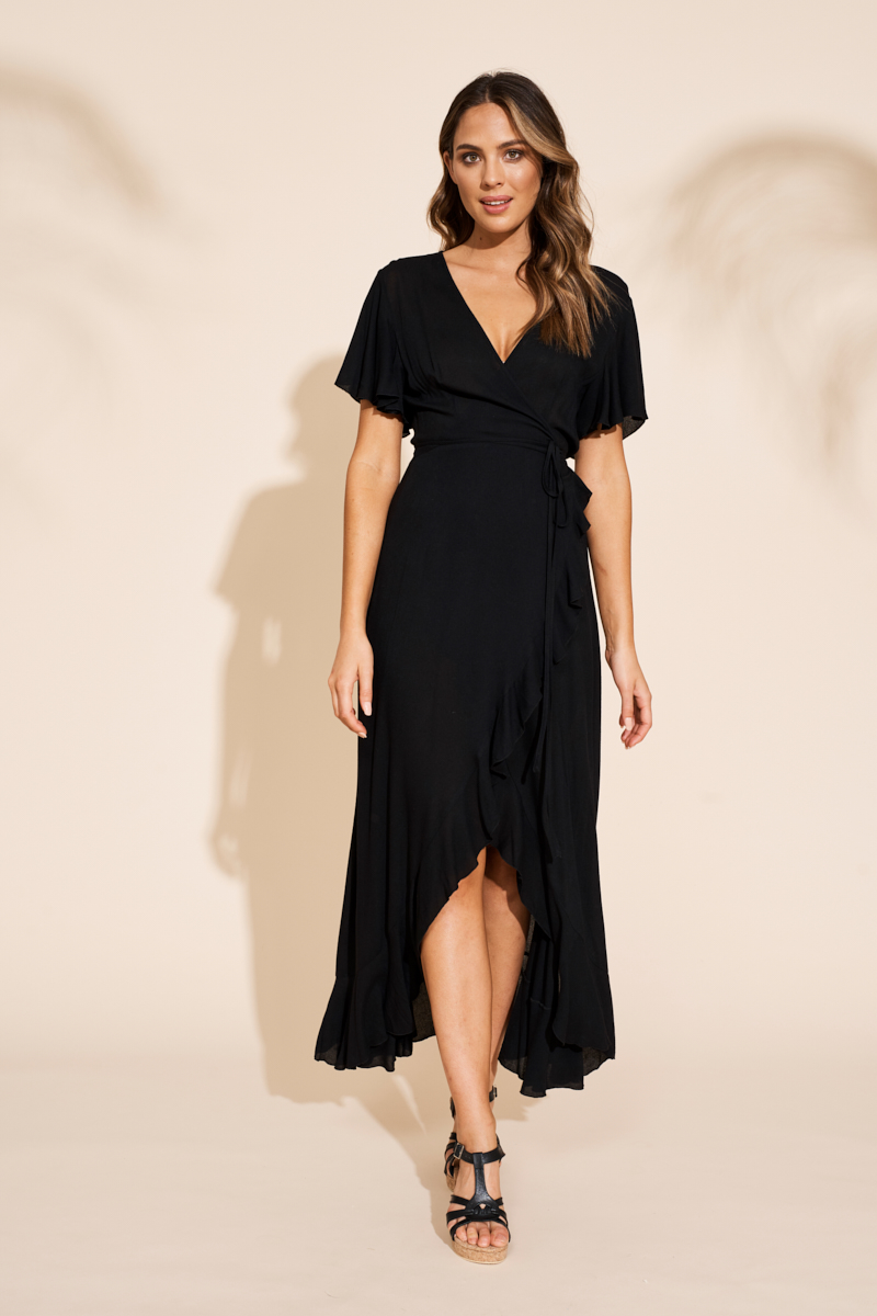 Eb&Ive Savannah Wrap Dress Black