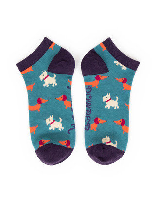 Powder Trainer Socks - Mixed Dogs Teal L