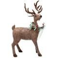 Gisela Graham Christmas Decoration Standing Reindeer - Plush Reindeer with Wreath 20384