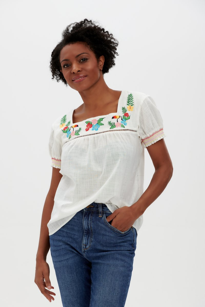Sugarhill Brighton - Alva Top Off White Rainbow Toucan