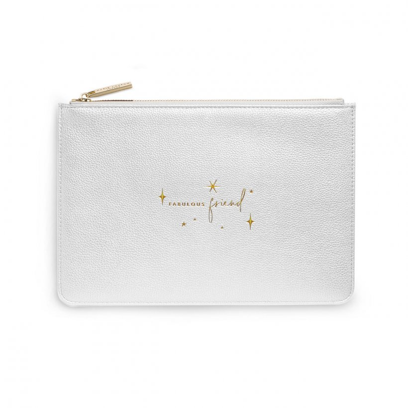 Katie Loxton Perfect Pouch - 'Fabulous Friend' Metallic Silver