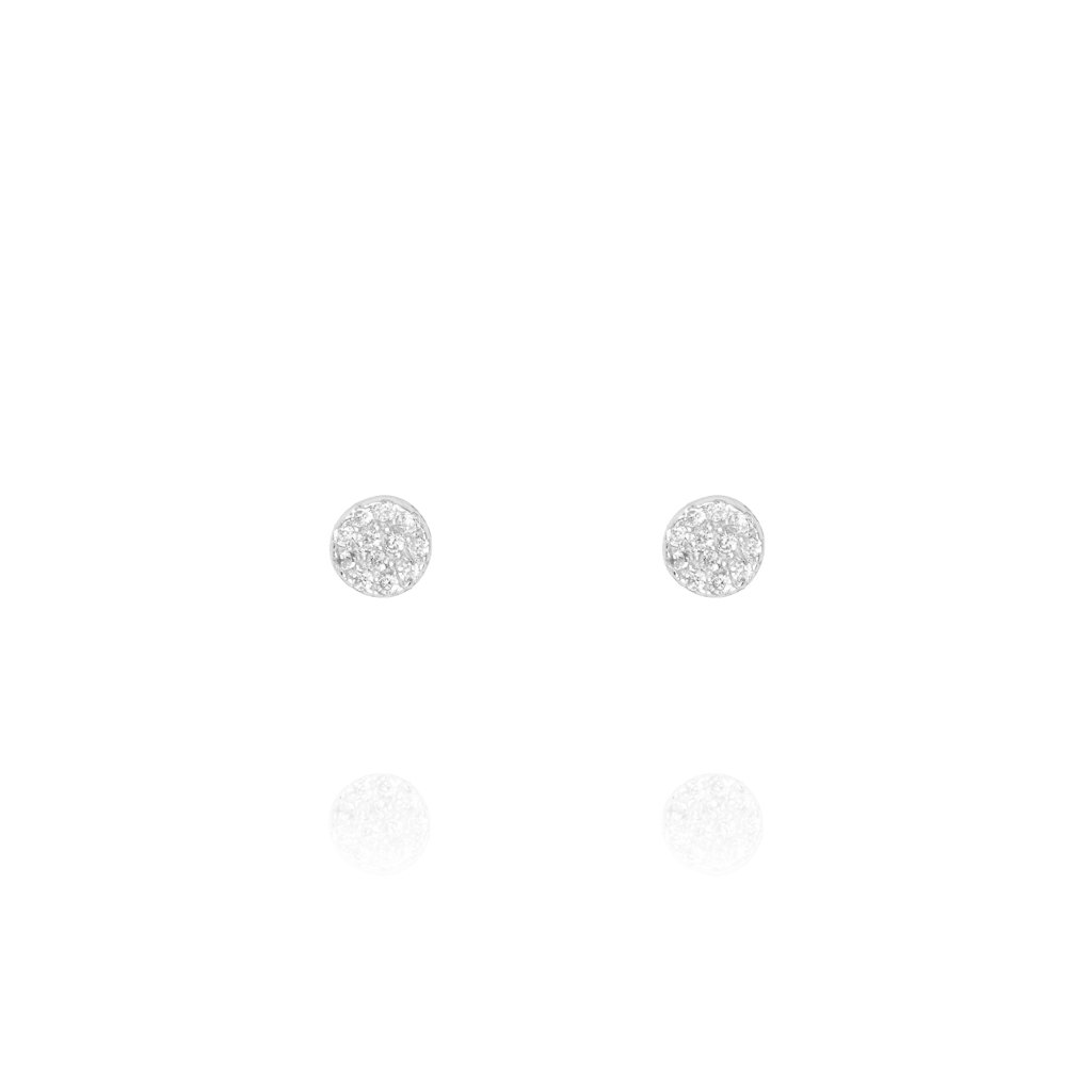 Stud Earrings Pave Disc - Sterling Silver PLevi EK-25/S