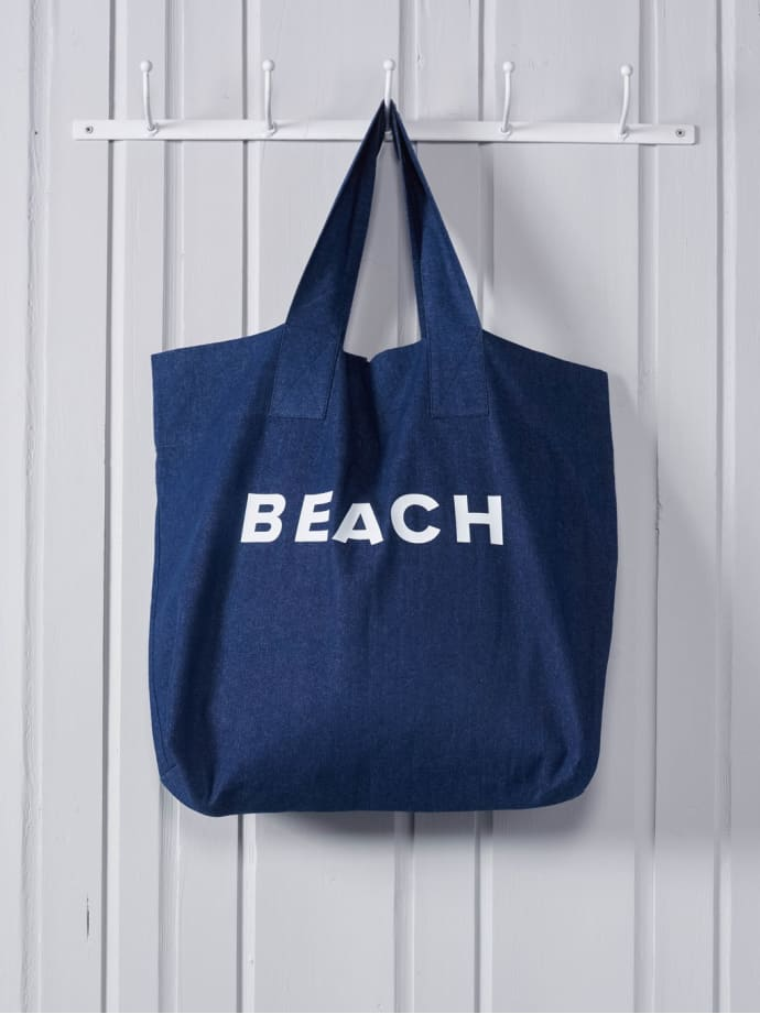 Chalk Tote Bag - BEACH in PINK, SILVER or NAVY