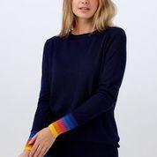 NEW Sugarhill Brighton Rita Sweater - Sunset Stripe Cuff Navy