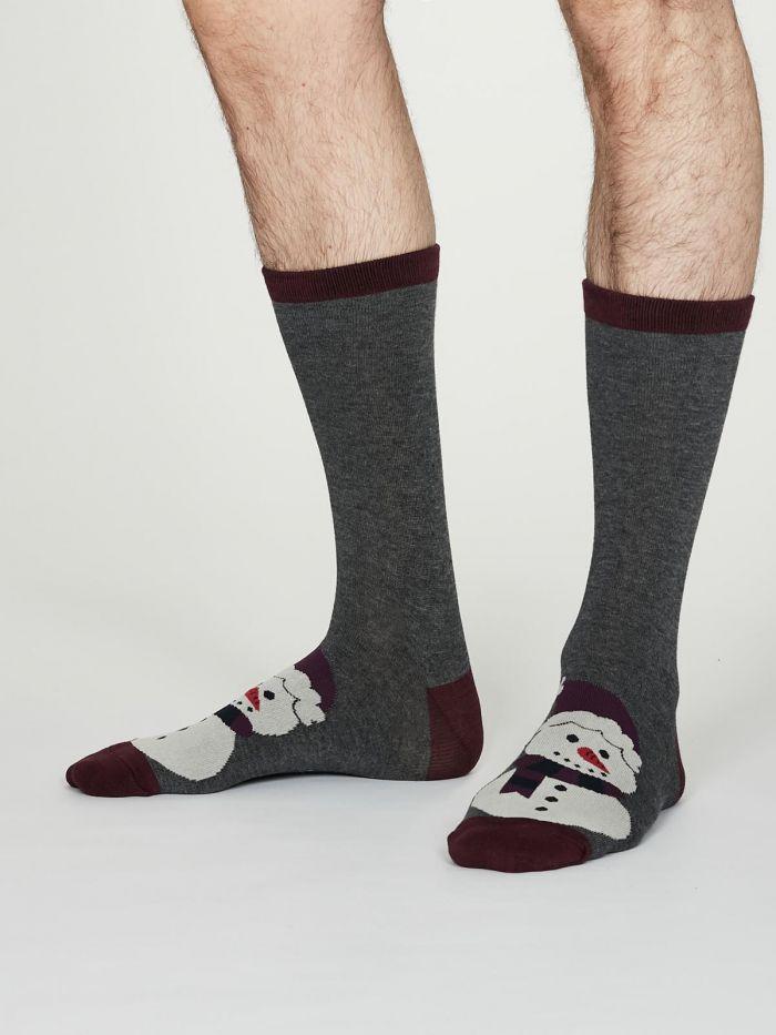 Mens Socks Thought Festive - Snowman in Gift Bag