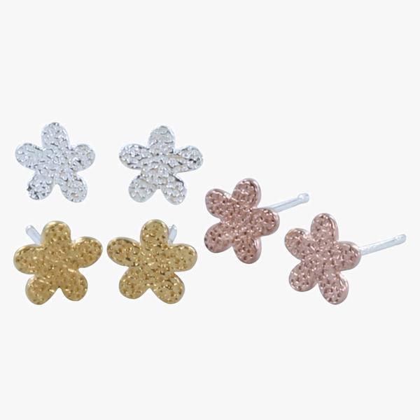 Stud Earrings Textured Flower - Silver BB53S