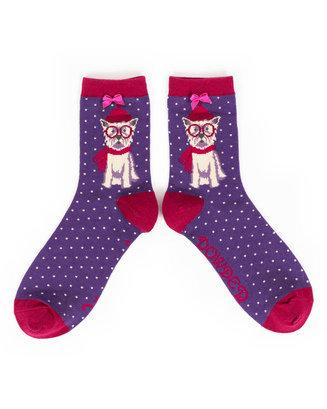 Powder Ankle Socks - Westie in Specs L