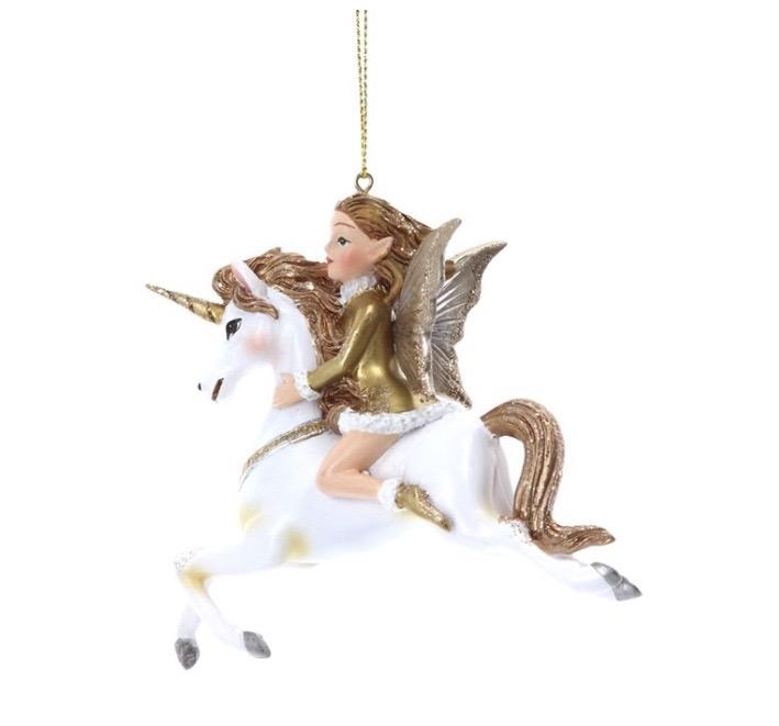 Gisela Graham Christmas Decoration Nostalgia - Fairy on Unicorn 15558
