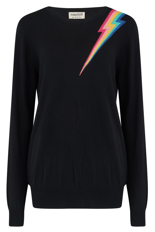 NEW Sugarhill Brighton Velma Sweater - Black Lightening Colour Flash