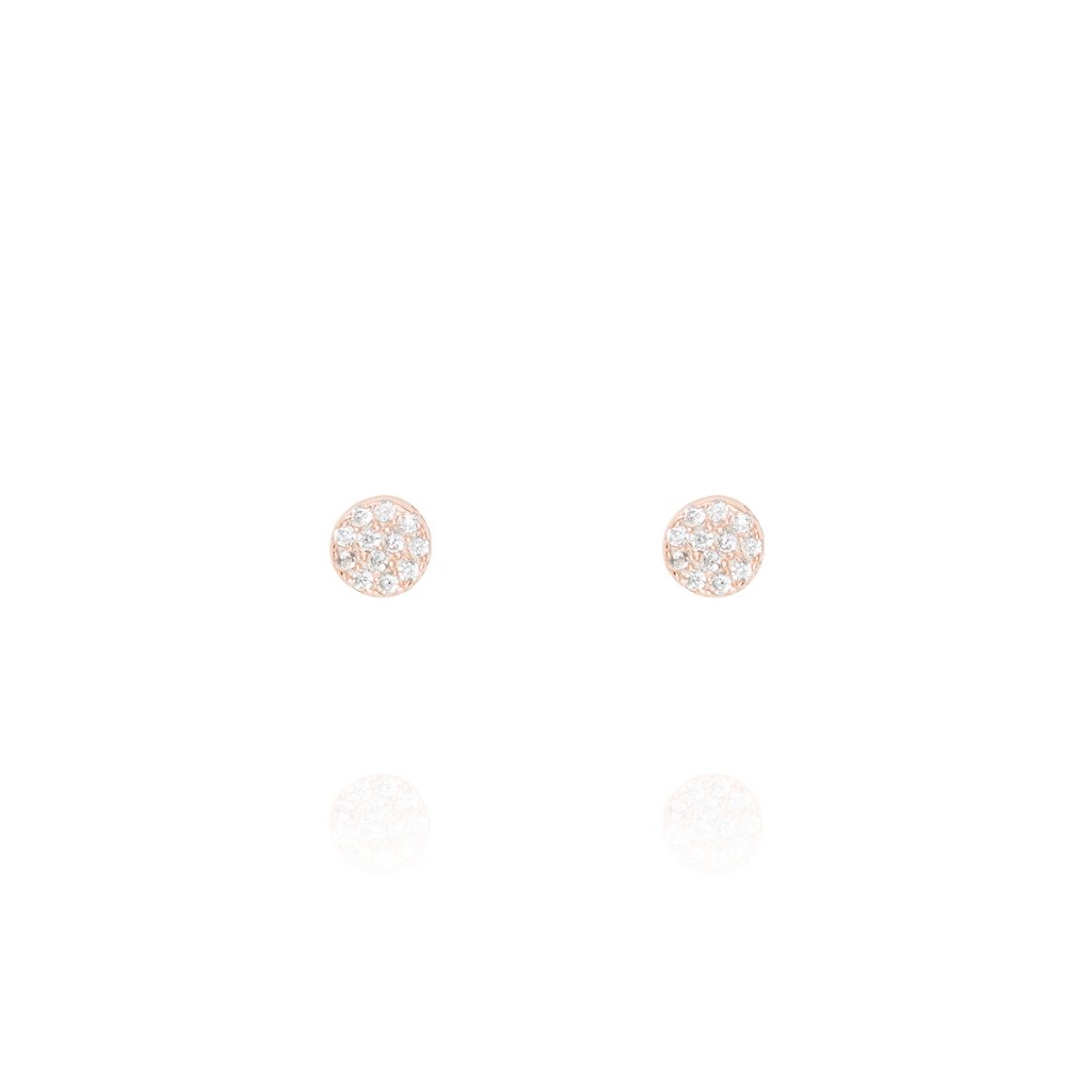Stud Earrings Pave Disc - Rose Gold Plate on Sterling Silver EK-25/R