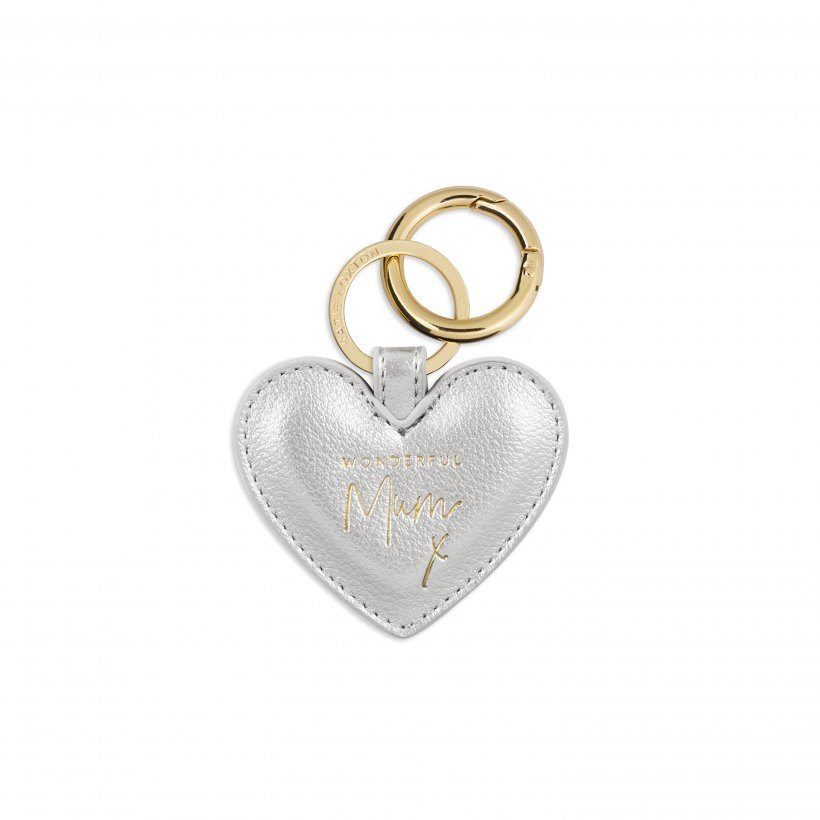 Katie Loxton Keyring - 'Wonderful Mum' Heart Silver