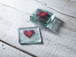 Jo Downs Coaster - Red Heart & Clear