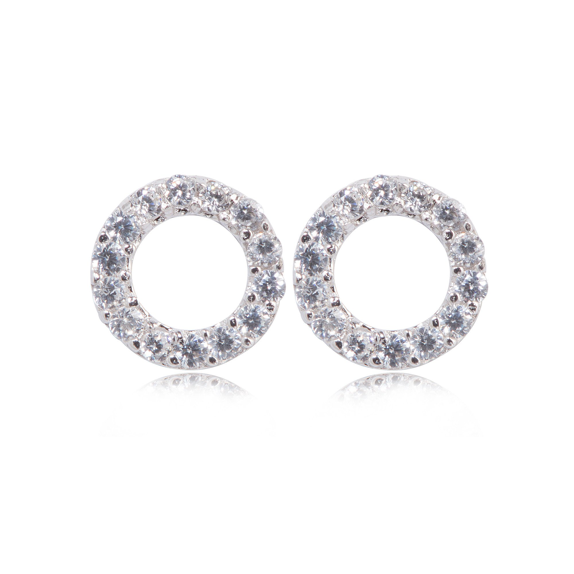 Stud Earrings Pave Open Circle CZ - Sterling Silver EG-45/S