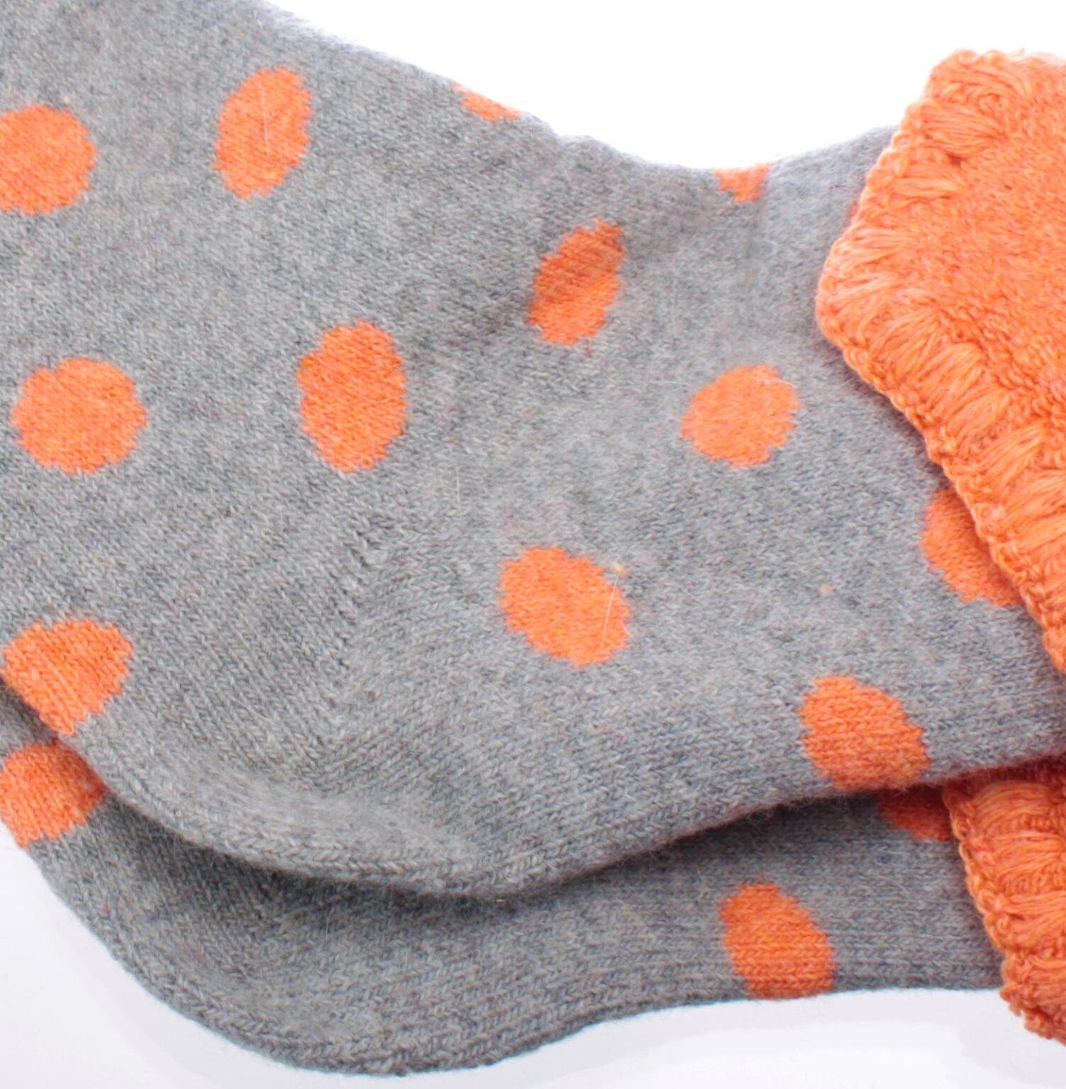Jess & Lou Socks - Grey/Orange Spot