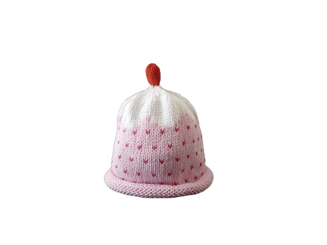 Baby Hat - Cupcake Pink and White