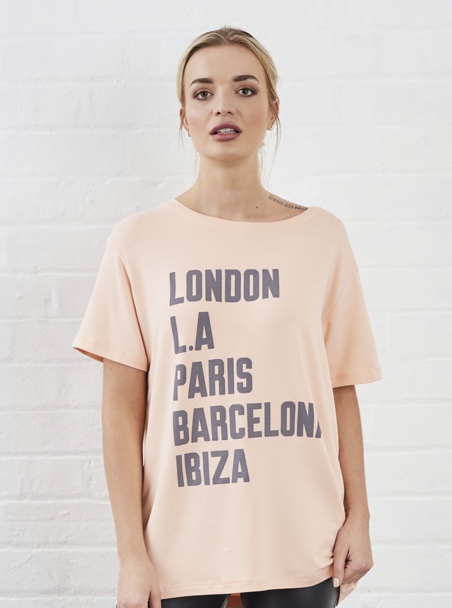 NEW! Sundae Tee - Cities Print Tee Peach