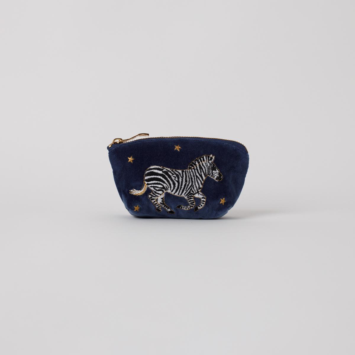 Elizabeth Scarlett - Coin Purse Zebra Indigo Velvet