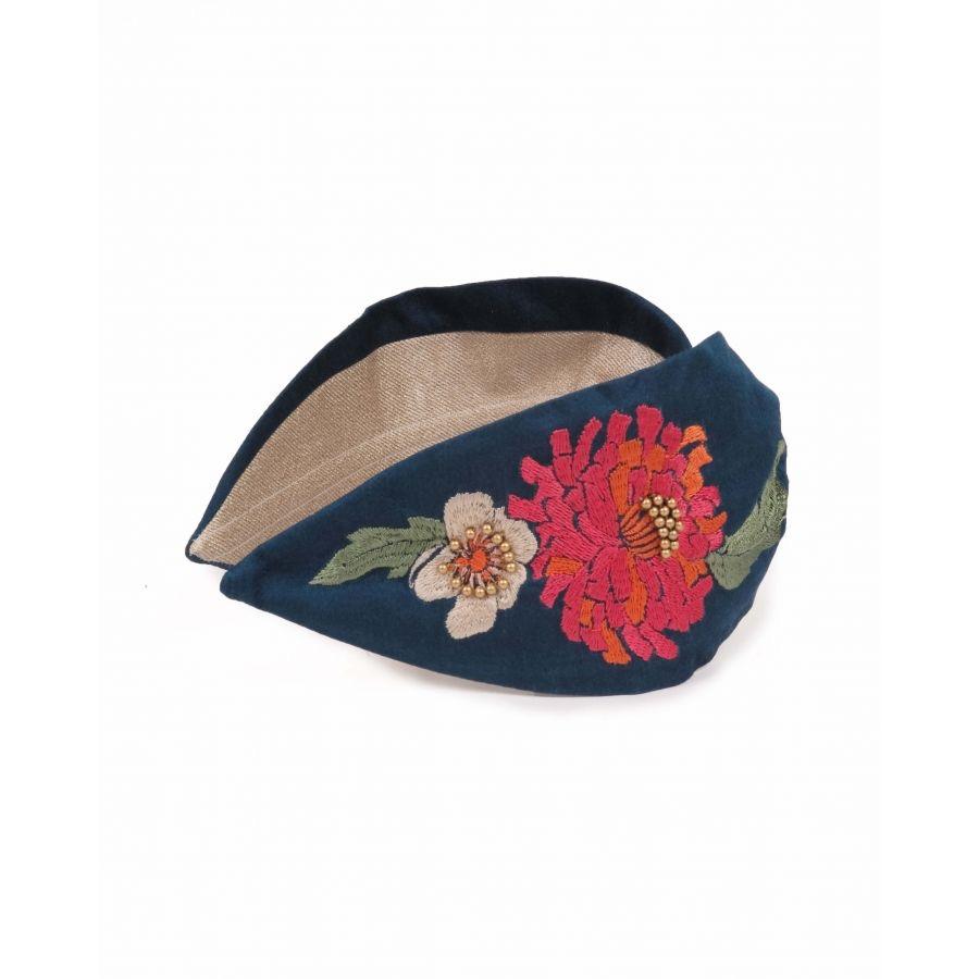 Powder Headband   - Retro Meadow Teal Embroidered