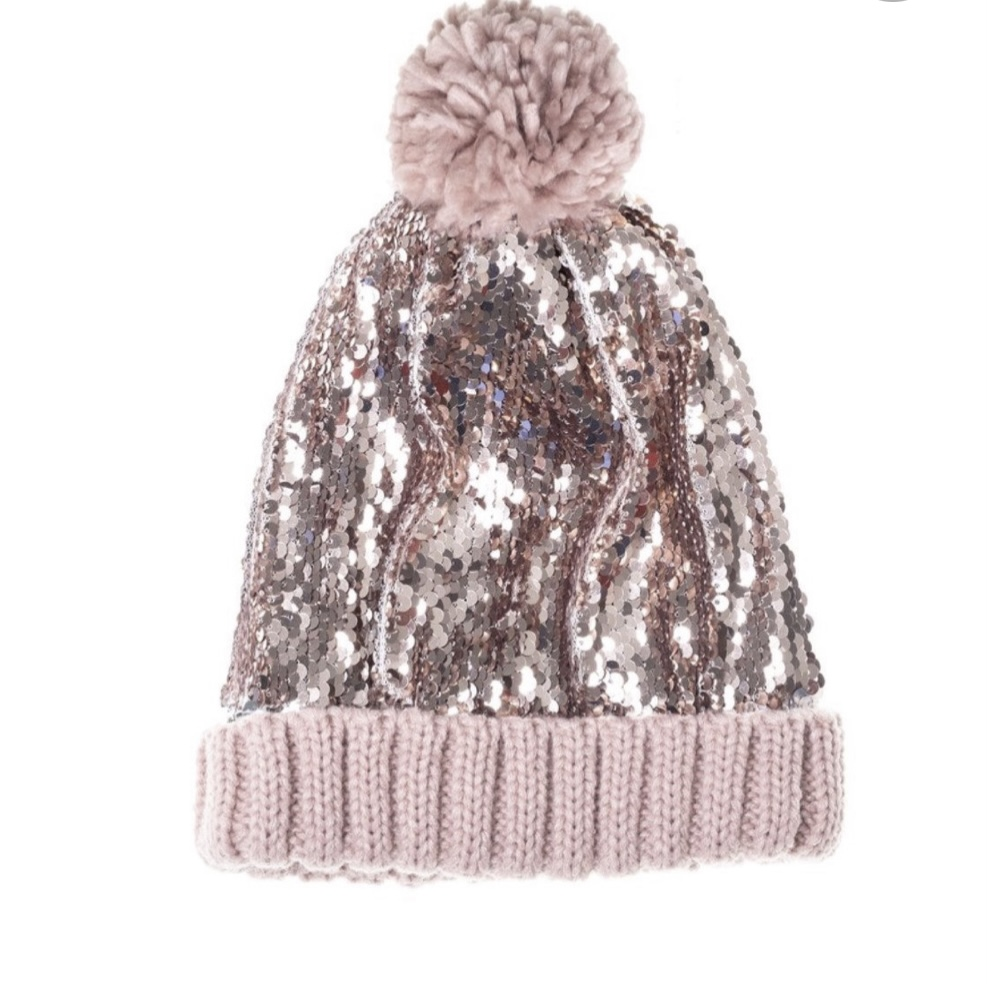 Rockahula Sequin Bobble hat in Dusky Pink and Gold - Child WAS £14