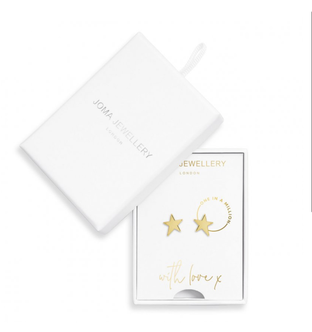 Joma Earrings - Star Smooth Gold Boxed 'One In A Million';