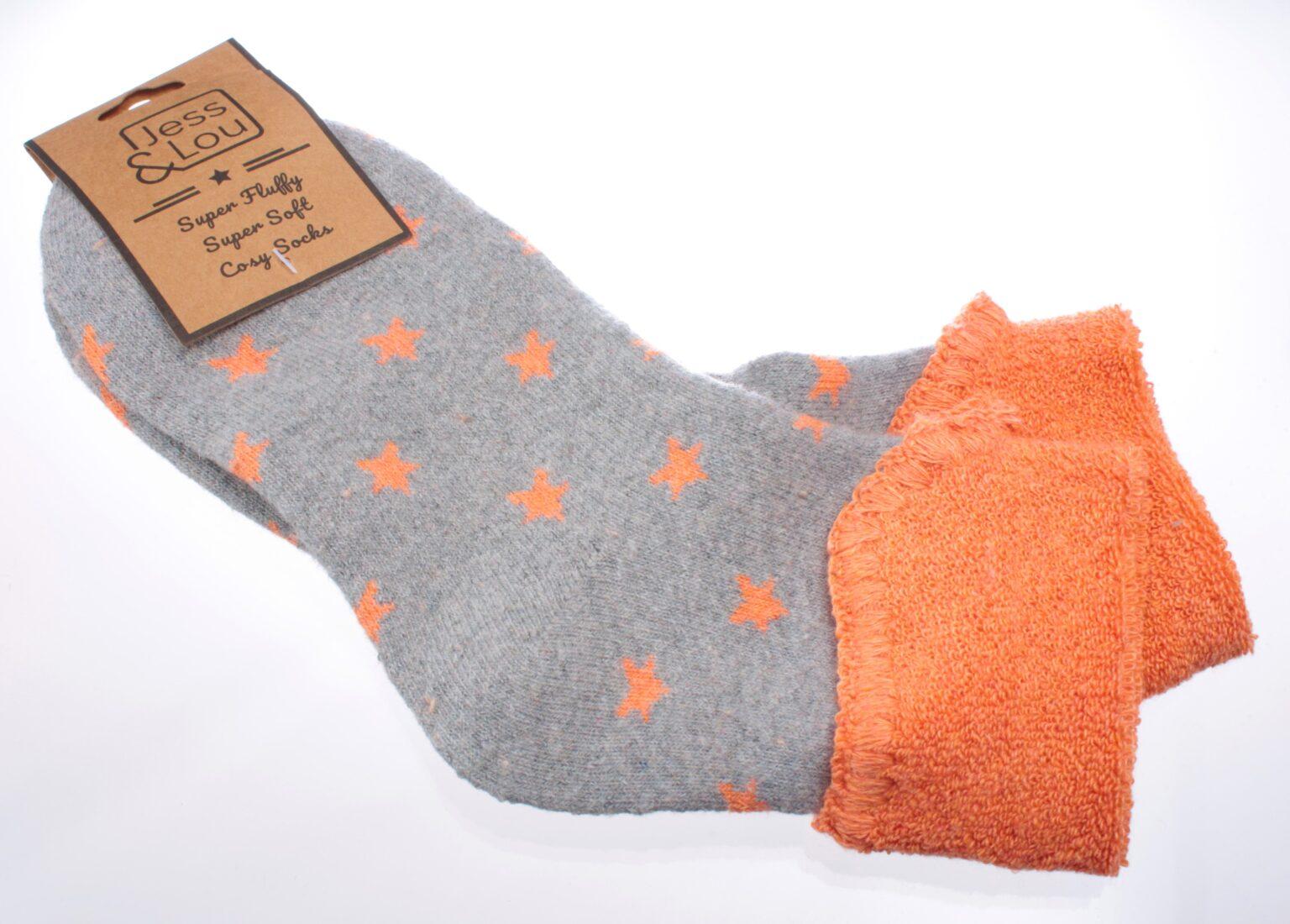 Jess & Lou Socks - Grey/Orange Stars