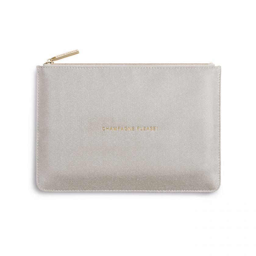 Katie Loxton Perfect Pouch - 'Champagne Please' Shiny Champagne